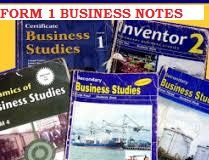 BUSINESS STUDIES FORM ONE FREE NOTES FOR ALL TOPICS. READ NOW.