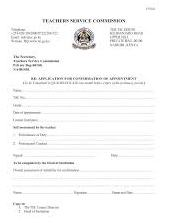 TSC casualty form. Used by a newly employed teacher to apply for confirmation of appointment.