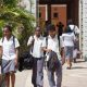 Back to school: Learners reporting back to school in this past photograph. Education ministry is set to give guidelines on schools reopening this coming week.