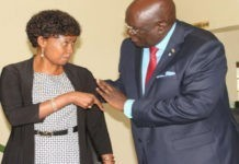 TSC boss Dr. Nancy Macharia (left) shares a note with the Education CS prof. George Magoha.
