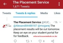 Placement results for 2019 KCSE candidates to be released on Tuesday. KUCCPS has indicated. See this screen shot.
