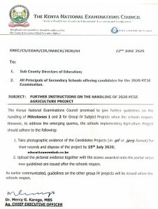 The latest knec circular on handling of group iv subjects with a project component.
