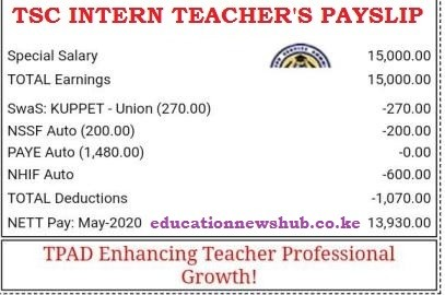 A TSC intern teacher's payslip.