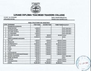 Lugari TTC 2020/2021 fees for students.