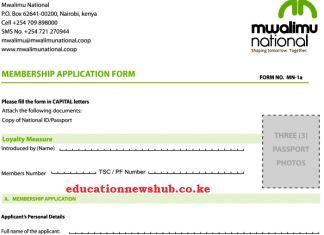 Mwalimu National SACCO new members' application form. Read details on how to join the SACCO, benefits and other details here.