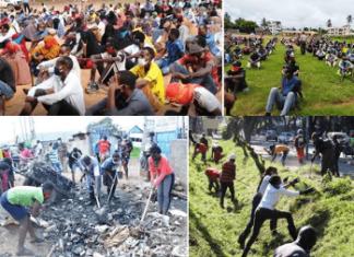 Youths taking part in the Kazi Mtaani initiative.