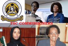 Current list of TSC Commissioners- Kenya.