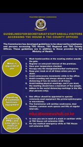 TSC new guidelines for staff and all visitors accessing TSC offices countrywide.