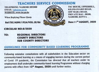 TSC circular on the Community Based Learning program, 2020.