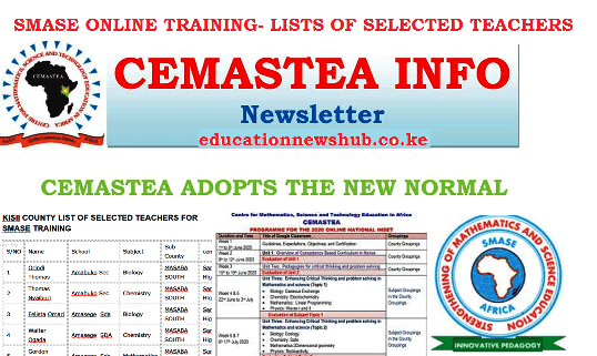 SMASE training 2020. List of selected teachers per county.