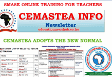 SMASE list of selected teachers for online training.