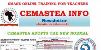 SMASE list of selected teachers for online training.