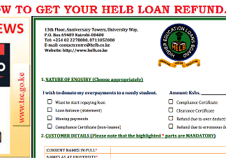 Process your HELB Loan refund for any amounts overpaid; HELB Loans news.