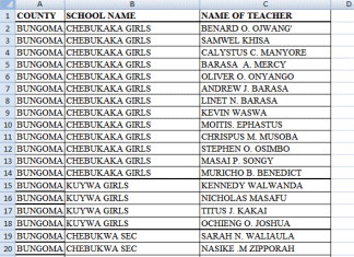 BOM teachers registered by the Ministry of Education per county.