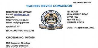 TSC recruitment guidelines for teachers 2020/ 2021.