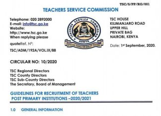 TSC recruitment guidelines for teachers 2020/ 2021.