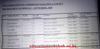 Kakamega County TSC recruitment schedule 2020