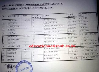 Kakamega County TSC recruitment schedule 2020