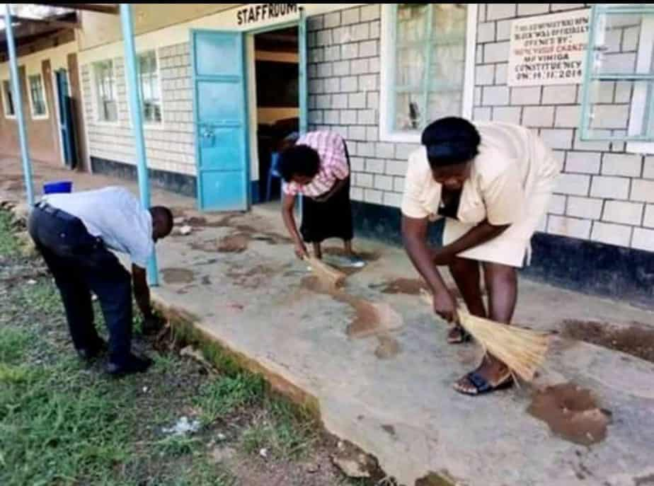 Teachers seen tidying up their school as they resumed to work on Monday morning.