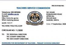 TSC teachers recruitment guidelines for teachers 2020/2021.