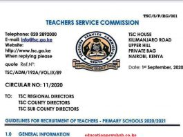 TSC teachers recruitment guidelines for teachers 2020/2021.