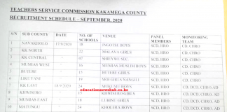 TSC recruitment dates and venues per county for all counties.