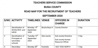 Busia County revised interview dates and venues for TSC recruitment exercise.