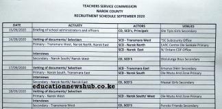Narok County teachers' recruitment schedule.