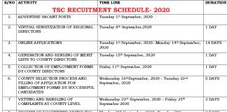 TSC recruitment dates for teachers in September/ October 2020.