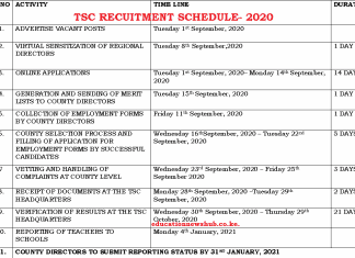 TSC recruitment dates for teachers in September/ October 2020.