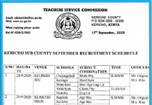 TSC recruitment 2020; Interview dates and venues.