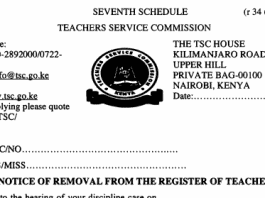 TSC dismissal letters for teachers.
