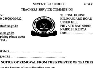 TSC dismissal letters for teachers.