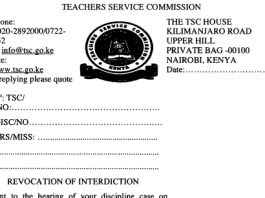 TSC revocation of interdiction letter for teachers.