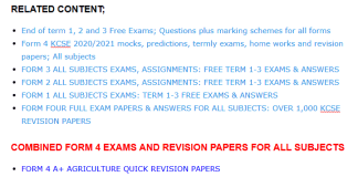 Free exams and their marking schemes for all forms.
