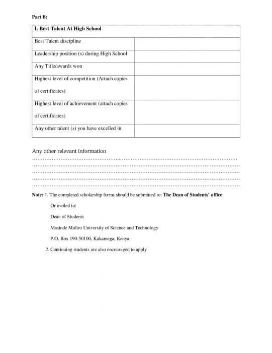 Masinde Muliro University scholarship application form page 2.