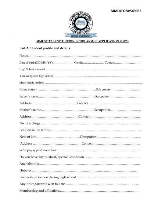 Masinde Muliro University scholarship application form page 1.