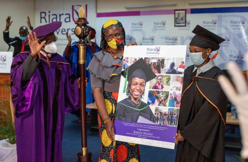 Photo: Right to left; Karen, Miriam Nekesa(her sign language interpreter), and Dr. Wilfred Kiboro (Chancellor Riara University) during the virtual graduation. She was among the top performers who attended the graduation while observing health guidelines to prevent the spread of Coivid 19.