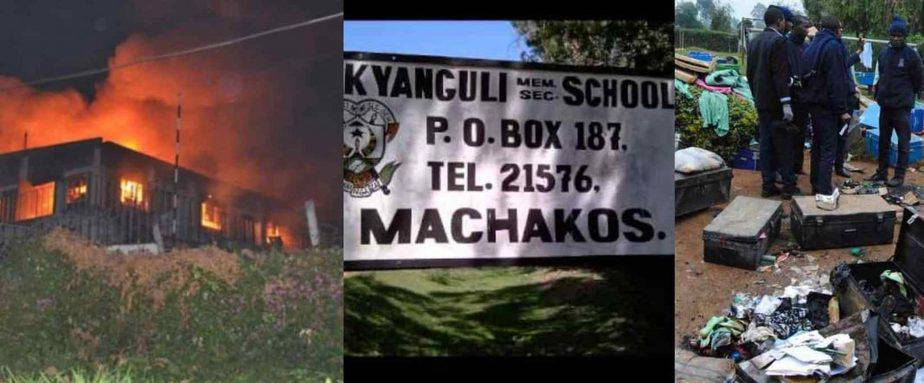 A past fire incident at one of the schools in Kenya.