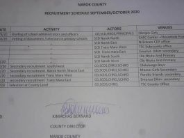 NAROK COUNTY RECRUITMENT SCHEDULE