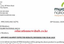 Mwalimu National Sacco 2020 dividends news.