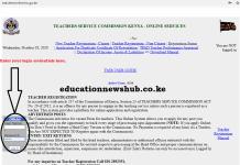The TSC online portal; https://teachersonline.tsc.go.ke/