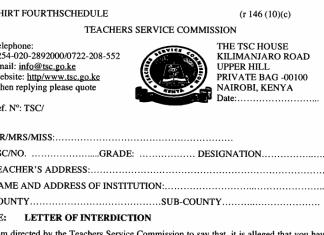 TSC interdiction letter.