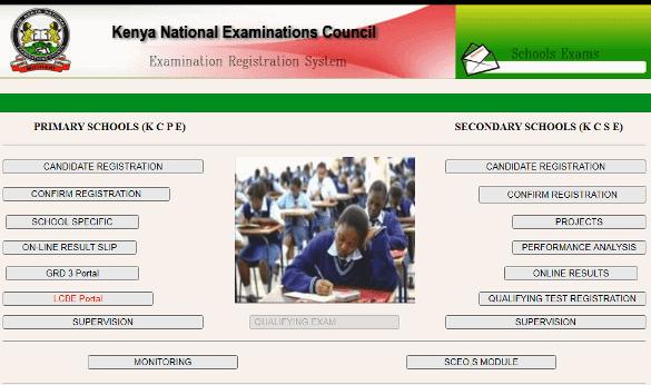 The KNEC LCBE portal for capturing marks online.
