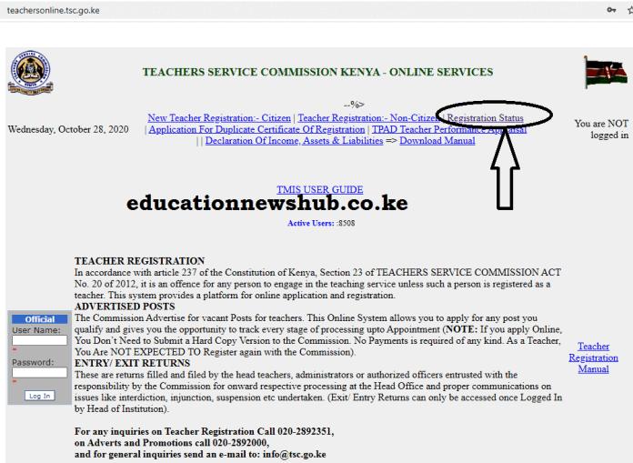 The TSC portal for online registration; https://teachersonline.tsc.go.ke/
