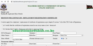 TSC online portal; https://teachersonline.tsc.go.ke/