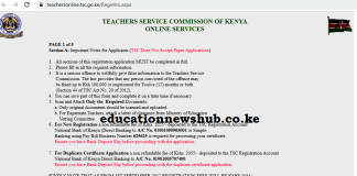 Portal for TSC Number application; https://teachersonline.tsc.go.ke/Regintro.aspx