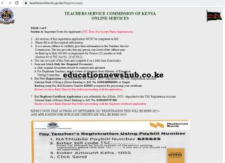 Portal for TSC Number application; https://teachersonline.tsc.go.ke/Regintro.aspx