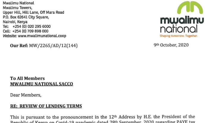 Mwalimu National Sacco reviews lending rates for customers.