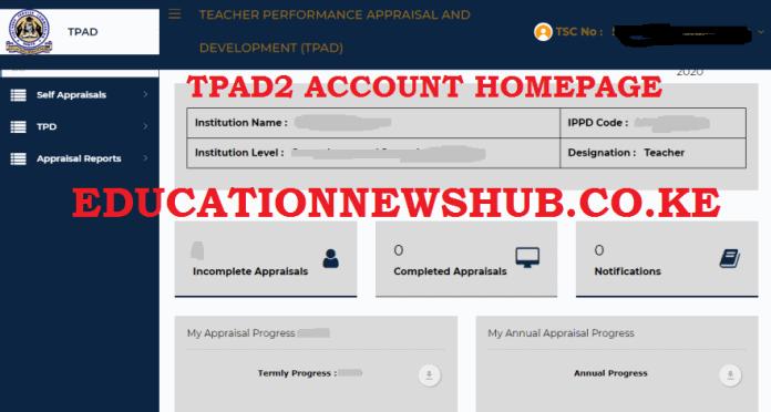 TPAD2 account homapage.